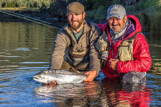 Oliver and John with Coho salmon